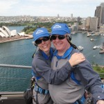 """With Bonnie on the Sydney Bridge, overlooking """"The Office""""…"""