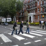 Making like the Beatles at Abbey Road… and guess who's barefoot! (with Casey Stone and Larry Mah)