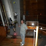 At the eyepiece of the historic Clark refractor telescope at Lowell Observatory…