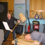 With composer John Ottman, searching for perfect sound on the Mahler hammer, Abbey Road