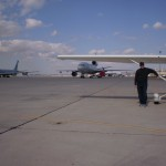 The little Cessna wants to play with the big DC-10… (Victorville, CA)